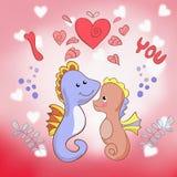 Liebhaber Seahorses-Grußkarte für Valentinstag Lizenzfreie Stockbilder