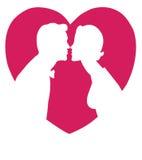 Liebhaber silhouettieren das Küssen lizenzfreie abbildung