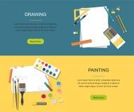 liebhaberei Malerei, Zeichnungsnetzfahne Farben, Bürsten, Bleistifte Zurück zu Schule lizenzfreie abbildung