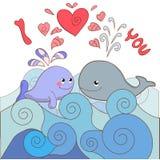Liebhaberwale auf einer Karte für Valentinstag Lizenzfreie Stockfotos