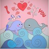 Liebhaberwale auf einer Karte für Valentinstag Stockfotos