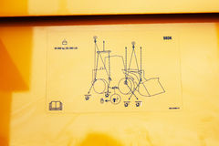 Liebherr拖拉机等高securty点 库存图片