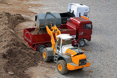 Liebherr Wheel Loader and MAN Dump Truck RC Models Royalty Free Stock Images