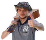 Lieblingshobby - Spielen der Gitarre Lizenzfreie Stockfotos