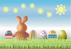 Liebres con los huevos de Pascua Imagenes de archivo