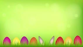 Liebres felices de pascua en el prado entre los huevos coloridos stock de ilustración