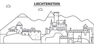 Liechtenstein architecture line skyline illustration. Linear vector cityscape with famous landmarks, city sights, design Stock Photography