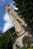 Liechtenstein church and statue Royalty Free Stock Photo