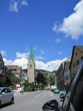 Liechtenstein downtown and transportation. Liechtenstein, July 2014: city downtown and transportation Royalty Free Stock Photo