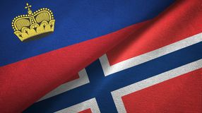 Liechtenstein en Noorwegen twee vlaggen textieldoek, stoffentextuur royalty-vrije illustratie