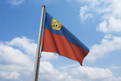 Liechtenstein Flag with Clouds Stock Image