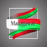 Madagascar flag. Official national colors. Madagascan 3d realistic stripe ribbon. Vector   icon sign background. Liechtenstein flag. Official national colors Royalty Free Stock Photos