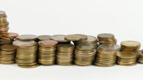 Liechtenstein flag with stack of money coins. Liechtenstein flag waving with stack of money coins stock footage