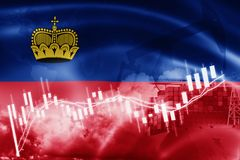 Liechtenstein flag, stock market, exchange economy and Trade, oil production, container ship in export and import business and. Logistics, background, banner vector illustration