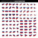 Liechtenstein flag, vector illustration. On a white background. Big set Royalty Free Stock Photos