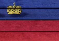 Liechtenstein flag on a wood Royalty Free Stock Photography