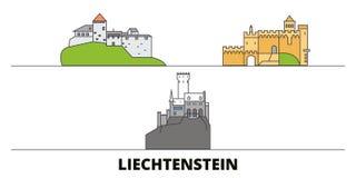 Liechtenstein flat landmarks vector illustration. Liechtenstein line city with famous travel sights, skyline, design. stock illustration