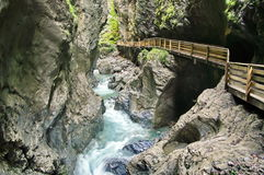 Liechtenstein Gorge - landmark attraction in Austria. Running water and rocks Royalty Free Stock Image