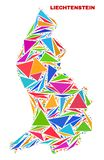 Liechtenstein Map - Mosaic of Color Triangles royalty free illustration
