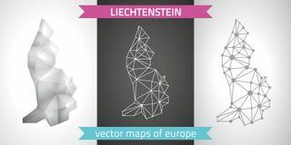 Liechtenstein set of grey and silver mosaic 3d polygonal maps Stock Images