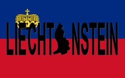 Liechtenstein-Text mit Karte Stockfoto