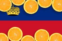 Liechtensteinsk flagga i citrusfruktskivahorisontalram royaltyfria foton