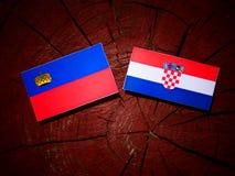 Liechtensteinsk flagga med den kroatiska flaggan på en isolerad trädstubbe Fotografering för Bildbyråer