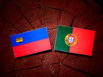 Liechtensteinsk flagga med den portugisiska flaggan på en isolerad trädstubbe fotografering för bildbyråer