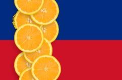 Liechtensteinsk vertikal rad för flagga- och citrusfruktskivor royaltyfria bilder