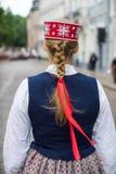 Lied en dansfestival in Letland Optocht in Riga Elementen van ornamenten en bloemen Letland 100 jaar Royalty-vrije Stock Afbeelding