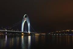 Liede-Brücke Guangzhou nachts, China Lizenzfreies Stockfoto