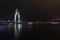 Liede-Brücke Guangzhou nachts, China Lizenzfreie Stockfotografie