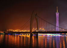 Liede bridge and Canton Tower at night. Sparkling Guangzhou Tower at night. Asian Game, TV tower, highest TV tower, the highest building in Canton Stock Photo