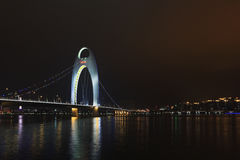 Liede Bridge Guangzhou at night, China Royalty Free Stock Photo