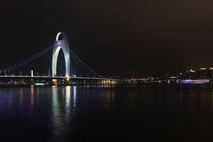 Liede Bridge Guangzhou at night, China Royalty Free Stock Photography
