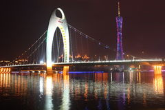 Liede bridge at night. About the tower of guangzhou Royalty Free Stock Image