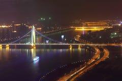 Liede Bridge, road, ship at night Stock Images