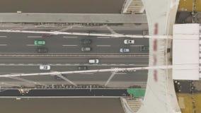 Liedebrug op Parelrivier Guangzhou, China Lucht top-down mening stock videobeelden