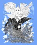 Liedvogel, der unten zum gezeichneten Design der Farnanimation Schritt fliegt Stockfotos