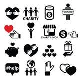 Liefdadigheid, die andere mensenpictogrammen helpen Stock Fotografie