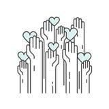 Liefdadigheid en Liefdadigheidsinstellingsvoorwerpen Vrijwilligersaffiche vector illustratie
