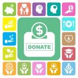 Liefdadigheid en schenkings geplaatste pictogrammen stock foto