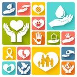 Liefdadigheid en schenkings vlakke pictogrammen Stock Afbeeldingen