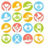Liefdadigheid en schenkingspictogrammenwit Stock Afbeeldingen