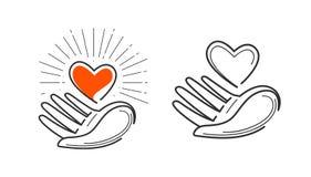 Liefdadigheid, het leven, liefde, gezondheidsembleem Hart in hand pictogram of symbool Vector illustratie royalty-vrije illustratie