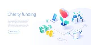 Liefdadigheidsfonds of zorg in isometrisch vectorconcept Vrijwilligers de metafoorillustratie van de gemeenschap of van de schenk vector illustratie