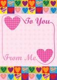 Liefde aan u van me Kaart Stock Foto's