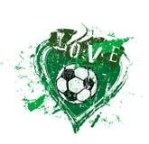 Liefde aan voetbal, symbool met hart en voetbalbal, grung vector royalty-vrije illustratie