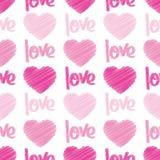 Liefde & de Naadloze Tegel van het Gekrabbel van Harten Royalty-vrije Stock Afbeeldingen