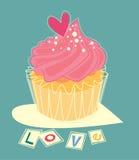 Liefde cupcake Royalty-vrije Stock Foto